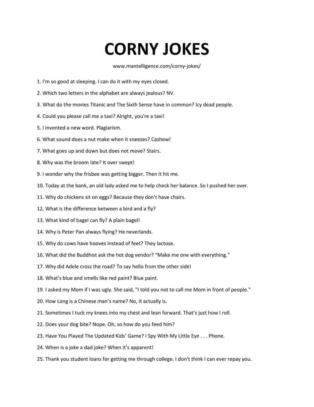list of CORNY JOKES 3